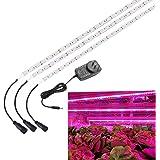 SOLMORE 植物育成用LED 3本ランプ ストリップライト 水耕栽培ランプ 室内用 プラントライト フレキシブルアーム園芸 室内栽培ライト 18W
