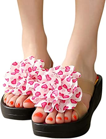 Colmkley Womens Flip Flops Summer Floral Platform Beach Sandals Shoes Slippers
