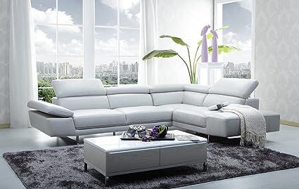 Bon Ju0026M Furniture 1717 Full White Italian Leather Sectional Sofa With  Adjustable Headrests