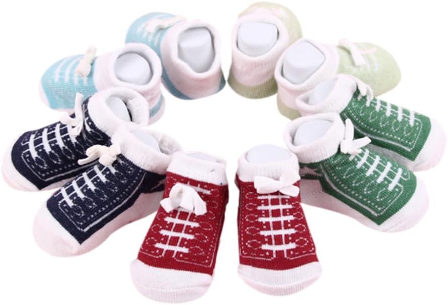 Zantec Calcetines Lindos del Tobillo del bebé recién Nacido para 0-6 Meses Calcetines Unisex del algodón de los Muchachos de Las niñas bebé 5 Pares/Set