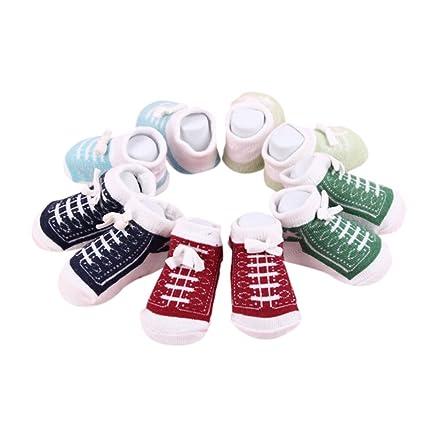 Calcetines lindos del tobillo del bebé recién nacido para 0-6 meses Calcetines unisex del algodón de los muchachos de las niñas bebé 5 pares / ...