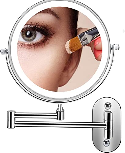 Servineart 1X 7X Magnifying Double Sided Vanity Makeup Mirror with Light and Touch Dimmer, 7.9 inch, Wall Mount, Round, Chrome