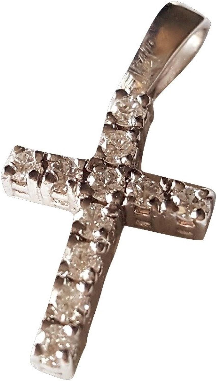 Colgante cruz hombre mujer oro blanco 18 kt 750/000 con diamantes 0,28 ct G H VVS
