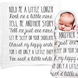 Baby Swaddle Blanket with Quote, Unique Christening Gift, Baptism Gift, New Baby Gift, Godchild Gift - Muslin Swaddle Baby Wrap with Baby Quote for Baby Shower Gift, Hold Me A Little Longer