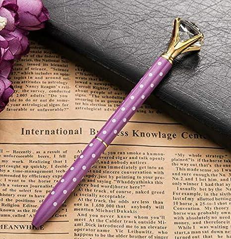 color morado oficinas Bol/ígrafo de punta redonda con diamantes de cristal de gran quilate para bodas bol/ígrafos plata rosa y morado oro rosa anillos de metal