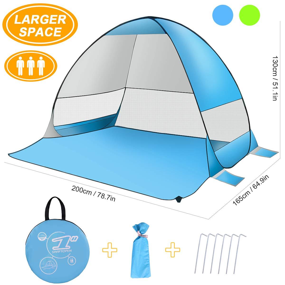 SLB Tienda de playa - Refugio automático para el sol con diseño de protección UV y resistente al agua, configuración fácil Sombrilla portátil para actividades familiares Playa Camping (3 personas) (Azul)