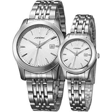 cd21edec0bf4 SINOBI 2 Pcs Watches for Couple Lovers Men s Lady Women Black Quartz Wrist Watch  Watches Gifts