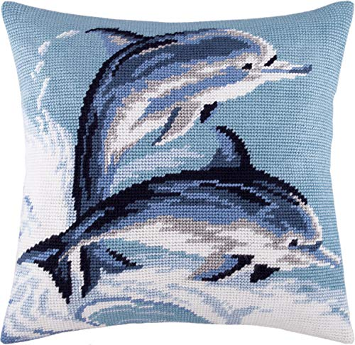 (Dolphins. Cross Stitch Kit. Throw Pillow Case 16×16 Inches. Home Decor, DIY Embroidery Needlepoint Cushion Cover Front, Printed Tapestry Canvas, European Quality. Dolphin, Fish, sea, Wild)
