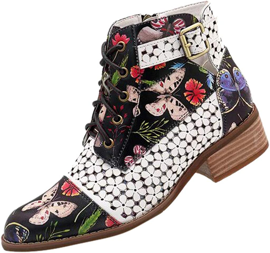 US 5.5-9 Womens Casual Ankle Boots,Ladies Zipper Vintage Ink Painting Flower Pattern Lace Up Heel Short Boot Shoes