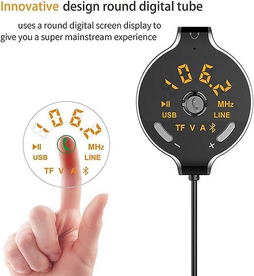 Transmetteur FM,Konrisa sans Fil Adaptateur Transmetteur FM Bluetooth 4.2 Emetteur Voiture Lecteur MP3 Mains Libres Aux Out avec Fente pour Carte TF for Voiture Allume Cigare