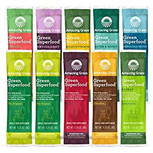 Amazing Grass Green Superfood Organic Plant Based Powder with Wheat Grass and Greens, Variety 10 count Pack with Natural Energy, Detox, Immunity, Multivitamin, Antioxidant, and Alkalizing Greens
