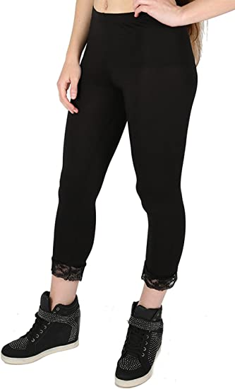 Womens Ladies 3//4 Length Lace Trim Edge Cropped Jog Trousers Jeggings Leggings
