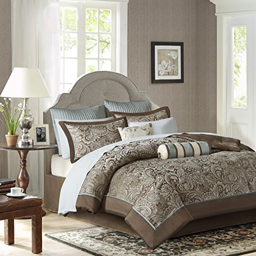 - Madison Park Aubrey Full Size Bed Comforter Set Bed In A Bag - Blue, Brown, Paisley Jacquard – 12 Pieces Bedding Sets – Ultra Soft Microfiber Bedroom Comforters
