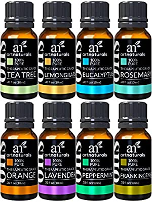 Art Naturals® Top 8 Essential Oils - 100% Pure Of The Highest Quality Essential Oils - Peppermint, Tee Tree, Rosemary, Orange, Lemongrass, Lavender, Eucalyptus, & Frankincense - Therapeutic Grade, Great For Massage, Aromatherapy, Healing, Revitalizing, SP
