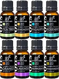 ArtNaturals TherapeuticGrade Aromatherapy Essential Oil Gift Set8 x 10ml100% Pure of the OilsPeppermint, Tea Tree, Lavender, Eucalyptus