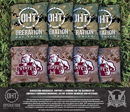 Victory Tailgate NCAA Operation Hat Trick Regulation All Weather Cornhole Game Bag Set - 8 Bags Included - Mississippi State MSU Bulldogs (Wicker Gate)
