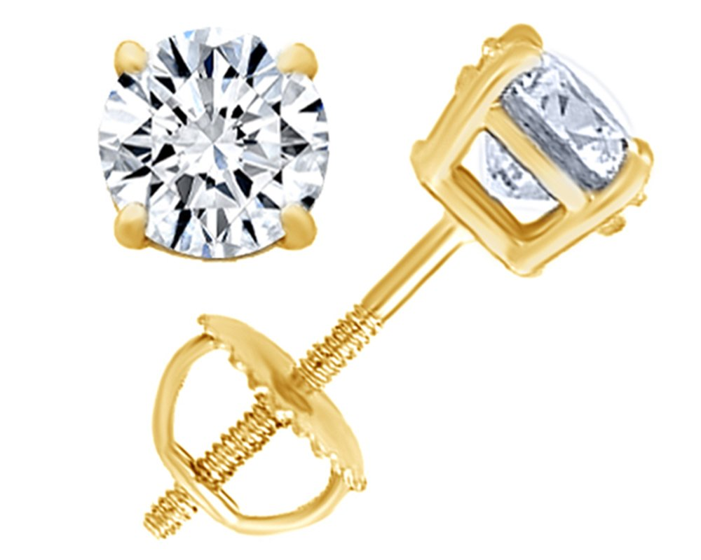 Round Natural Diamond Stud (IGI Certified 0.70 ct & up) Plus Quality Screw Back Earrings in 14k Solid Yellow Gold, 0.04 Ctw - 2.00 Ctw