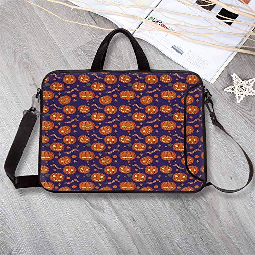 Halloween Anti-Seismic Neoprene Laptop Bag,Pumpkins Pattern Different Face Expressions Happy Angry Scary Puzzled Laptop Bag for Travel Office School,12.6
