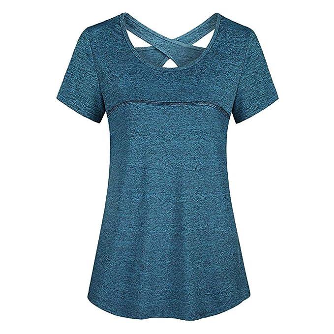 Amazon.com: CofeeMO Camiseta de cuello redondo con espalda ...