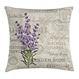 Lavender Throw Pillow Cushion Cover, Vintage Postcard Composition with Grunge Display and Flowers, Decorative Square Accent Pillow Case, 18 X 18 Inches, Lavender Reseda Green Beige 45cm