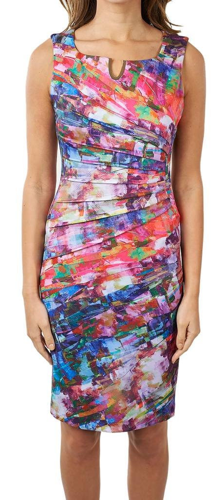Joseph Ribkoff Multicoloured Ruched Dress + Gold Tone Accent Style 171716 - Size 16