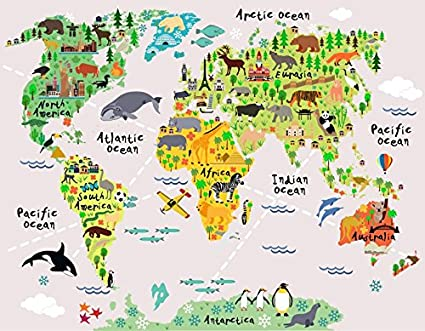 Amazon com: Kids wall decals Vinyl animal map wall stickers By Mi