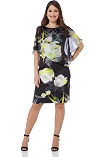 74616381583 Roman Originals Women Chiffon Overlay Scuba Dress - Ladies Round Neck Short  Sleeve Cold Shoulder Floral Print…