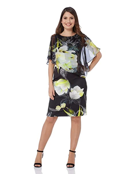 da81d220e8cf Roman Originals Women Chiffon Overlay Scuba Dress - Ladies Round Neck Short  Sleeve Cold Shoulder Floral Print Occasion Wedding Guest Dresses   Amazon.co.uk  ...