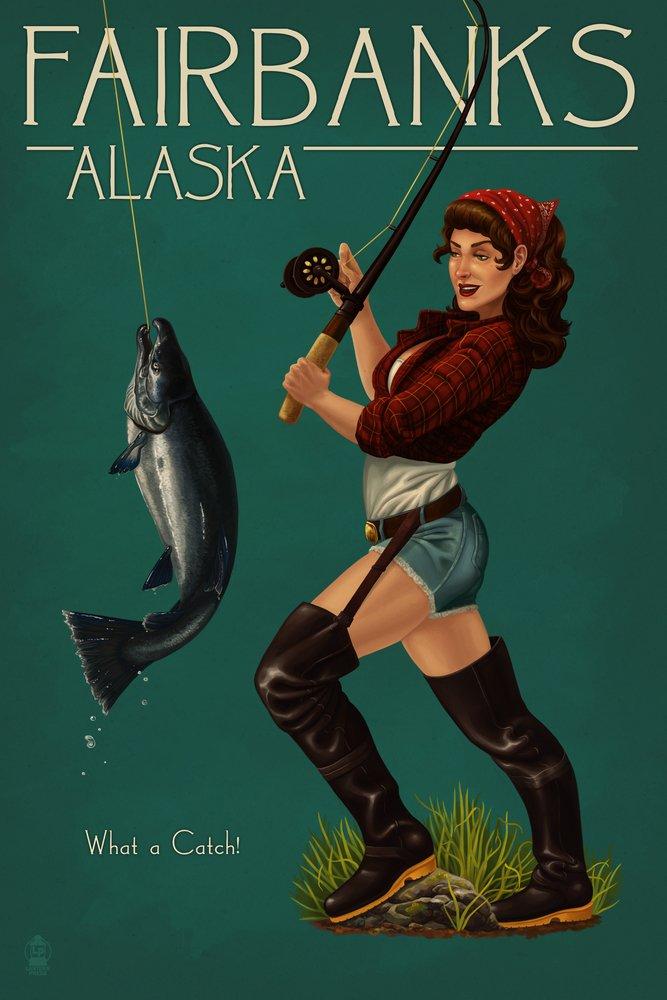 【18%OFF】 Fairbanks、アラスカ – Salmon Print Fisher Pinup Girl Art 12 x x 18 Art Print LANT-45921-12x18 B07B2DM6JB 16 x 24 Signed Art Print 16 x 24 Signed Art Print, 文房具屋フジオカ文具e-stationery:e5fbbdaa --- kuoying.net