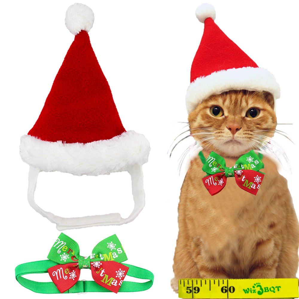 Adorable Cute Cat Dog Christmas Santa Hat and Bow Tie Collar for Cats Kitten Puppy Small Pets, Red and White Wiz BBQT