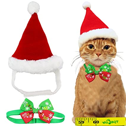 Amazon.com : Adorable Cute Cat Dog Christmas Santa Hat and Bow Tie ...
