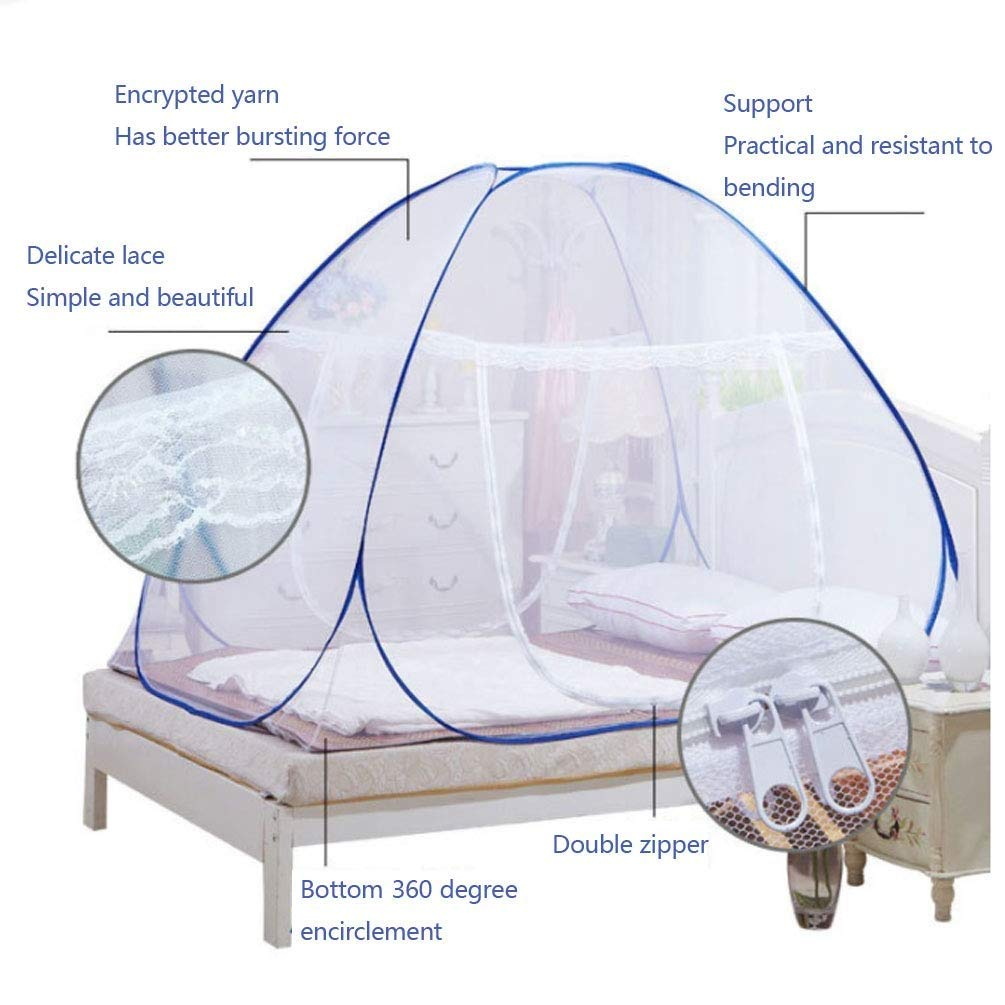 NSHUN Anti Mosquito Nets Pop Up Mosquito Net Bed Tent with Bottom Mosquito Nettings Folding Portable for Baby Toddlers Kids Adult (Color : Blue, Size : 1.2m) by NSHUN (Image #2)