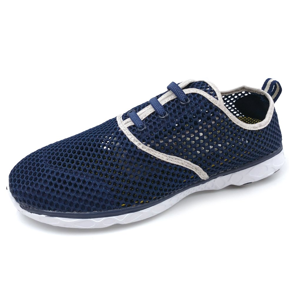 Amoji Water Aqua Shoes Swim Beach Sneaker Casual Workout Athletic Tennis Shoes Sport Slip On Surfing Quick Drying Breathable Ladies Male Adult Navy 13US Women/10.5US Men