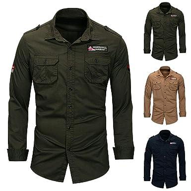 69d34d1b galmajLj Stylish Men 's Shirts-Military Men Solid Color Button Down Long  Sleeve Shirt