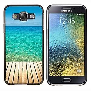 Blue Paradise Agua- Metal de aluminio y de plástico duro Caja del teléfono - Negro - Samsung Galaxy E5 / SM-E500