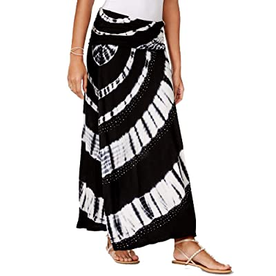 I.N.C. International Concepts Women's Petite Tie-Dyed Convertible Dress to Maxi Skirt (Deep Black, PS) at Women's Clothing store