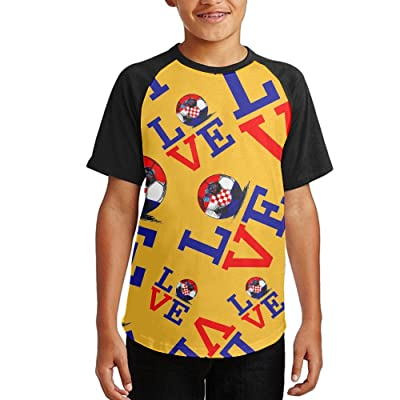 2018 Love Croatia Football Youth Short Sleeves Raglan Print Baseball T-Shirts Tees