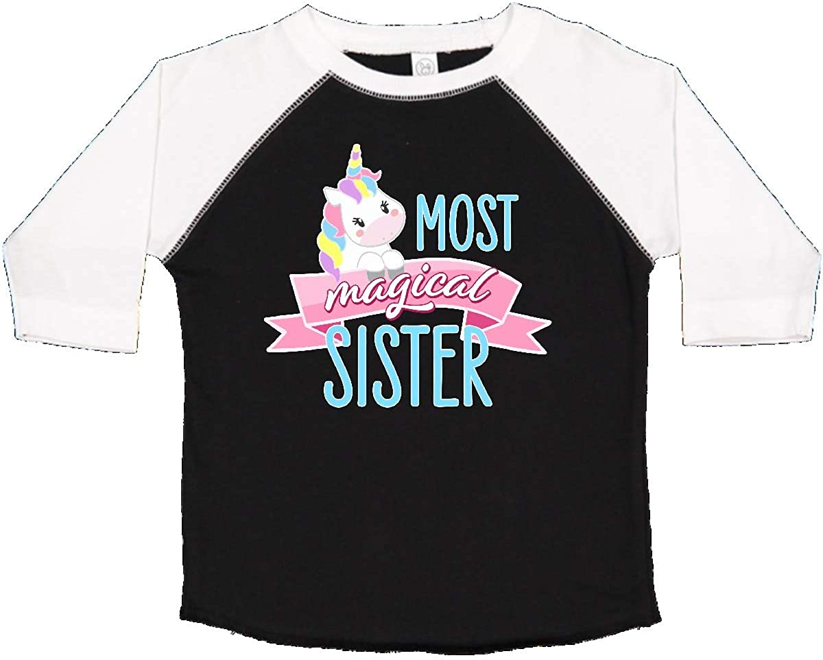 Cute Unicorn Toddler Long Sleeve T-Shirt inktastic Most Magical Little Sister