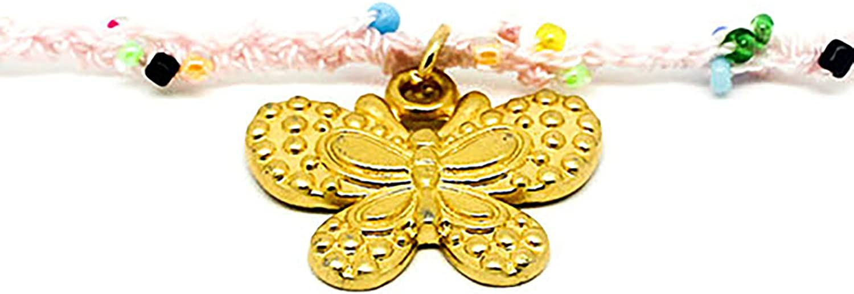 Kokomorocco Colgante Mujer Mariposa Bañada en Oro 18 k, Choker con cordón Tejido a Mano con Hilo y chaquiras de Colores Regalos Originales