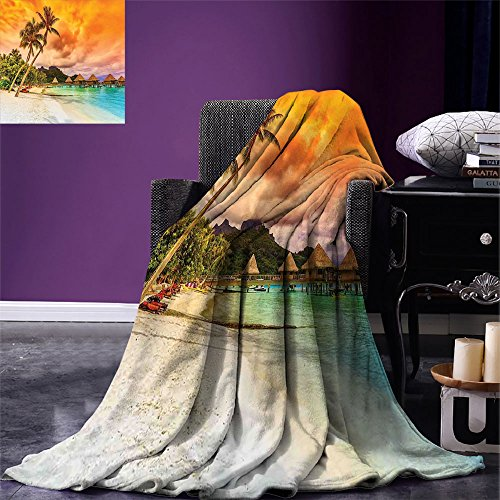 Golden Orange Tree - smallbeefly Beach Throw Blanket Mountain Beach and Palm Trees Golden Clouds at Sunset Romantic View Image Warm Microfiber All Season Blanket for Bed or Couch Orange Turquoise Ivory