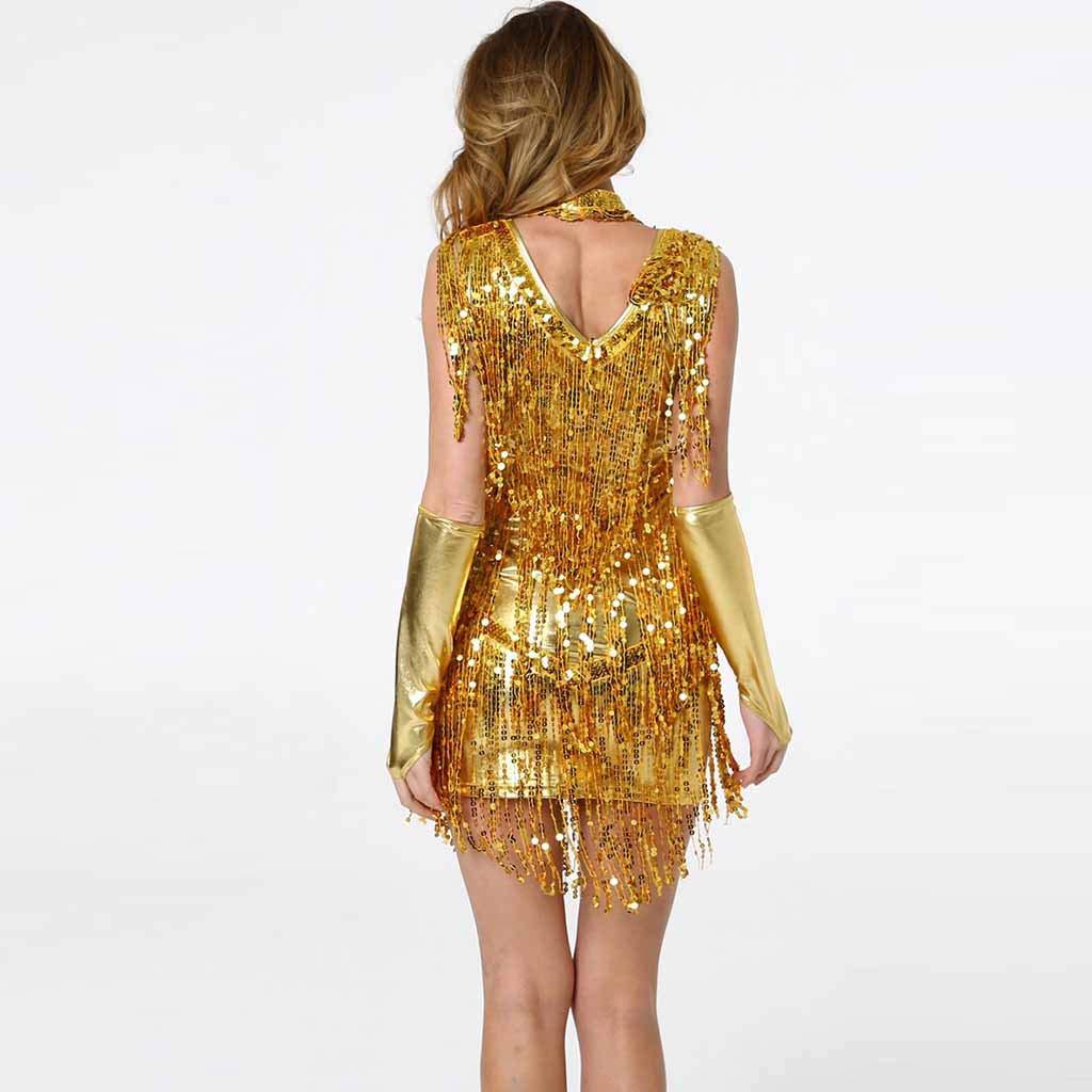 Rambling New Women Hang Neck Sequin Tassel Dance Skirt Latin Dance Costume Gold by Rambling Women's Dress (Image #2)
