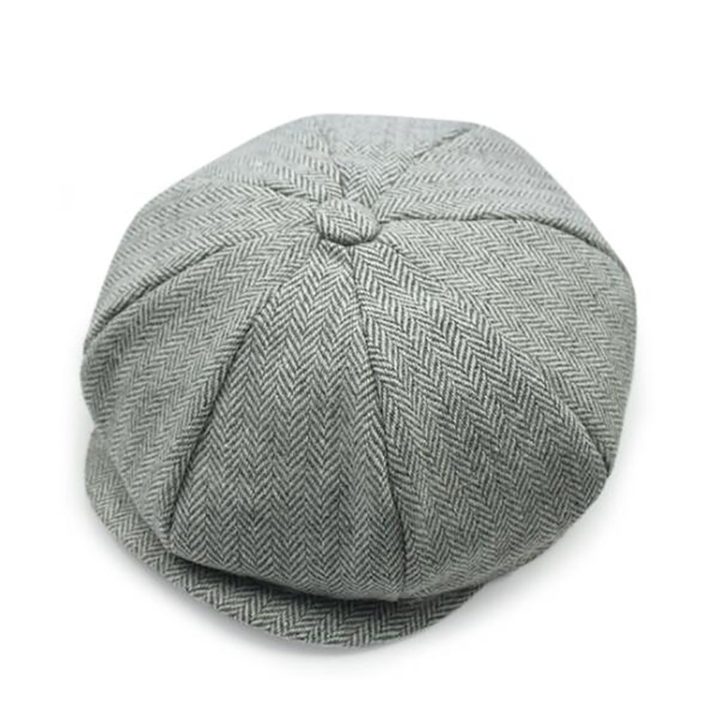Men's Newsboy Style 8 Piece Flat Cap Herringbone Wool Hat CA093