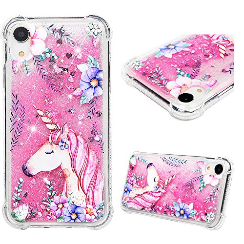 iPhone XR Case 6.1 inch, Liquid Glitter Case Bling Shiny Sparkle Flowing Moving Love Hearts Cover Clear Ultral Slim Protective TPU Bumper Shockproof Drop Resistant Quicksand Case for iPhone XR -