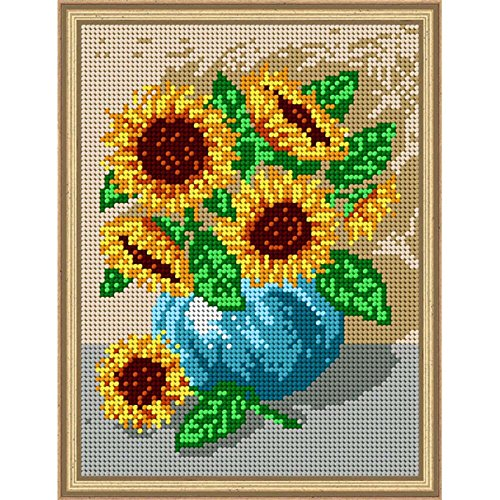 Orchidea Sunflowers with Blue Vase Needlepoint Canvas