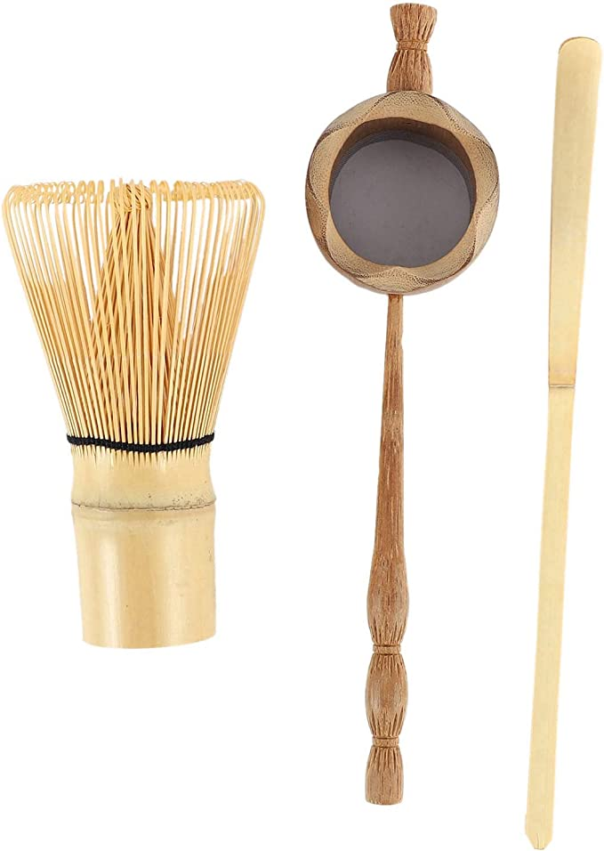 LBWNB Passoire /à Th/é en Bambou Naturel Pinceau Fouet Matcha Ensemble de Pelle /à Fouet en Poudre avec Th/é Vert Ensemble DUstensiles /à Th/é Accessoires de Cuisine 3 Pi/èces