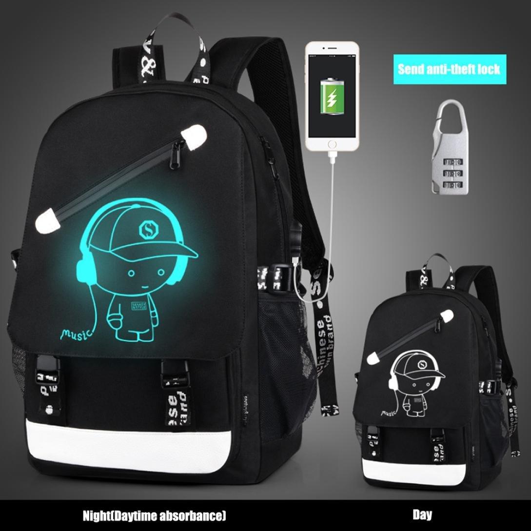 Backpack New Style, Gotd Cartoon School Bags Student Backpack, USB External Charging Laptop Bag (Black)