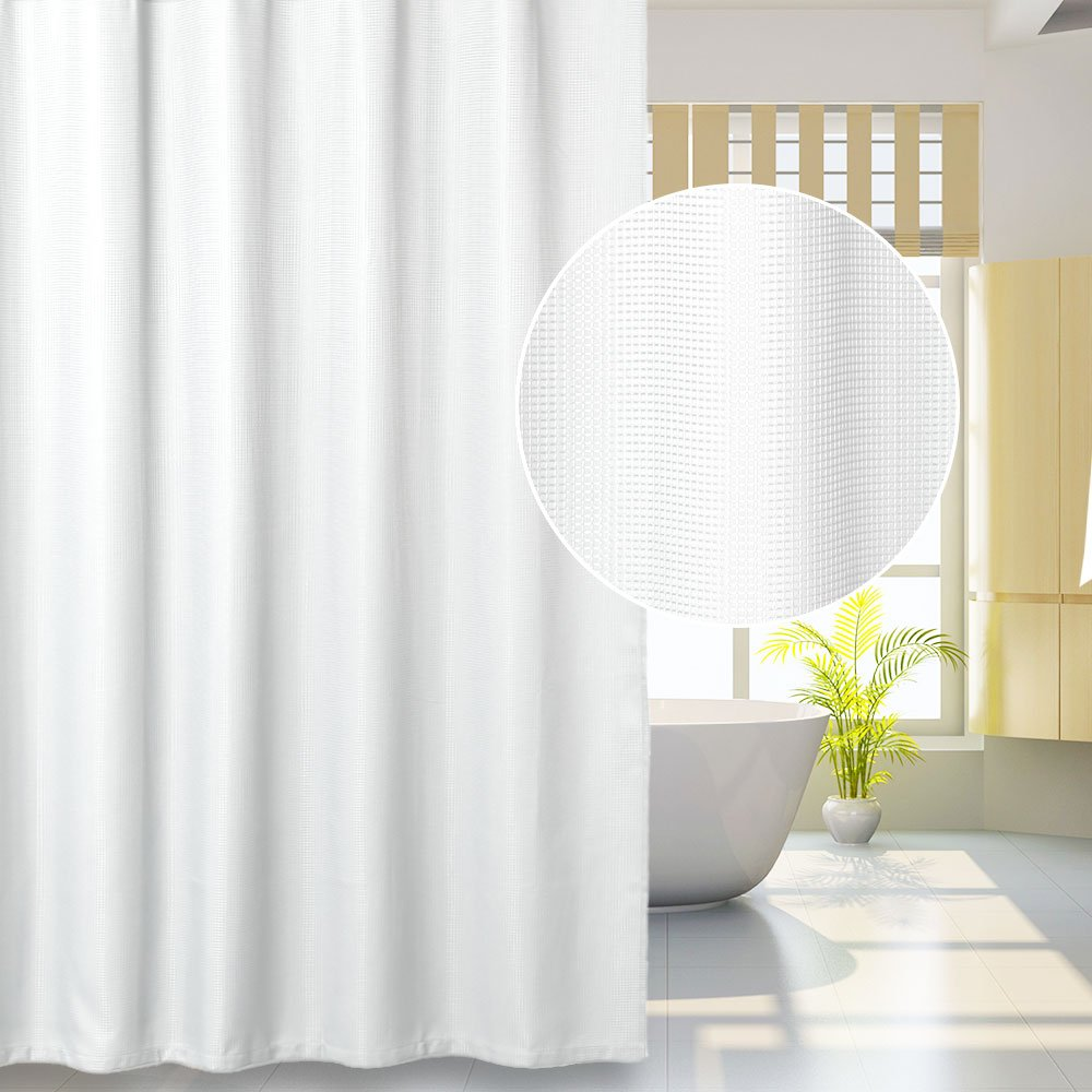 Lintimes Waffle Fabric Shower Curtain, Large Mildew Resistant Bathroom Curtain-72x72inch,Grey,100% Polyester