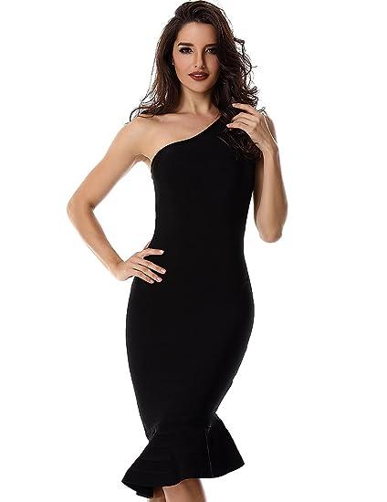 Adyce Bandage-Dress Mujer Vestidos Ropa Vestido Negro de cš®ctel Fiesta Sexy Mujer Midi/Matrimonio / Gracia/Club Usar Fuera de Reino Unido, Tama?o XS 4/6 .
