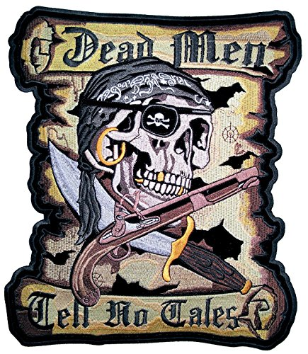 Leather Supreme Dead Men Tell No Tales Pirate Skull Embroidered Biker Patch-Yellow-Medium