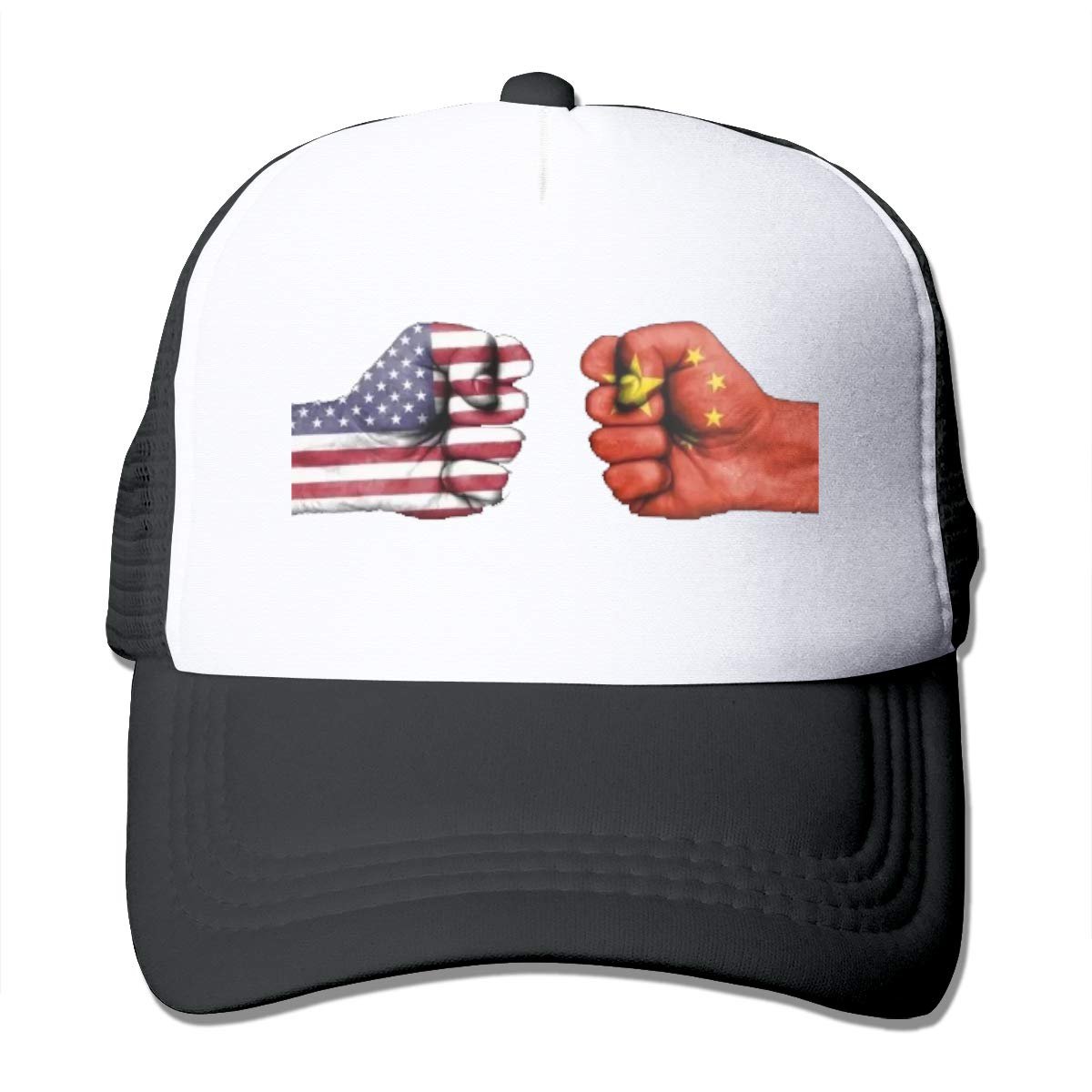 Zhiwei Station China and American Unisex 3D Printed Trucker Hat Black